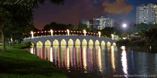Chinese Garden Bridge at Night - Adventures with Family