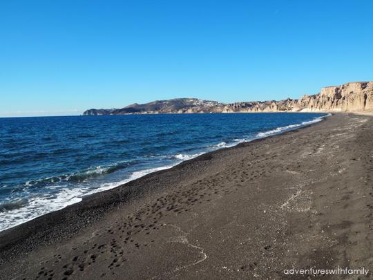 Perissa Black Sand Beach Santorini in Winter